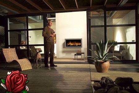 Bez dūmiem un kvēpiem: elektrisks uguns interjers