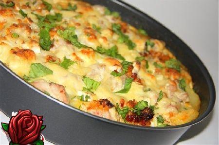 Küpsetatud kartul kana: mõneminutilise tassiga